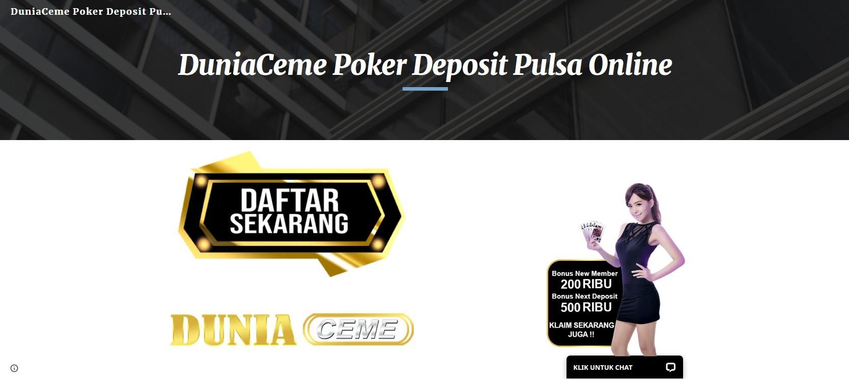 Duniaceme Poker Deposit Pulsa Online Teletype
