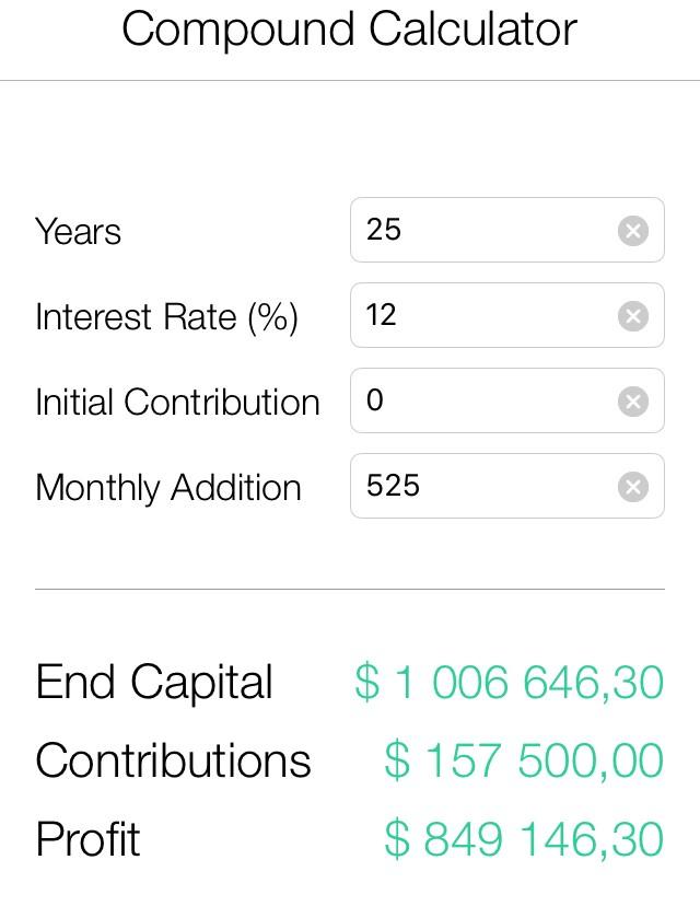 Копим $1'000'000 откладывая по 1000 руб